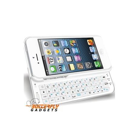 Uitschuifbaar bluetooth qwerty toetsenbord - hoes voor de iPhone 5 - Wit