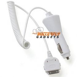 Witte 12 volt autolader met kabel voor de iPhone 3, 4 en iPhone 4s