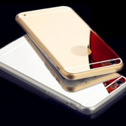 Spiegelende (mirror) hoesje voor de iPhone 5, 5s, SE Zilver