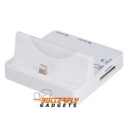 Dockingstation met Cardreader en USB hub voor de iPhone 5, 5s, 5c