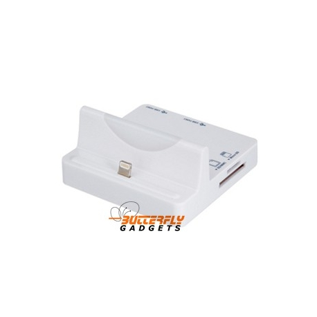 Dockingstation met Cardreader en USB hub voor de iPhone 5, 5s, 5c