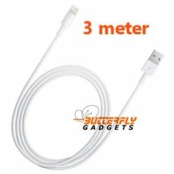 3 meter lange USB kabel voor de iPhone 5, 5s, 5c, iPad 4, iPad Mini (wit)