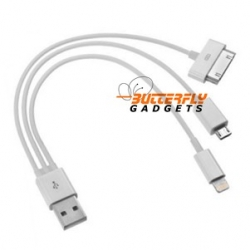 3 in 1 oplaad kabel voor iPhone 4, 4s, 5, 5s, 5c, Samsung Galaxy, HTC, micro USB