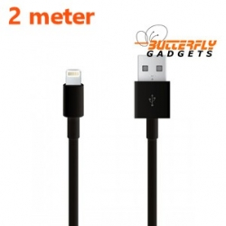 Twee meter lange USB kabel voor de iPhone 5, 5s, 5c, iPad 4, iPad Mini (zwart)