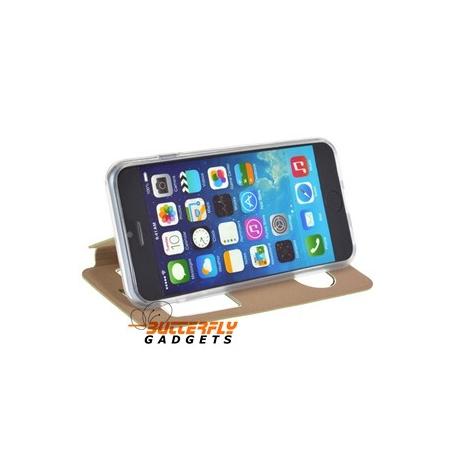 Openklap hoesje met vensters en tevens standaard voor de iPhone 6