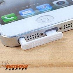Wit beschermkapje voor headset en dockingconnector tegen stof voor de iPhone 5, 5s