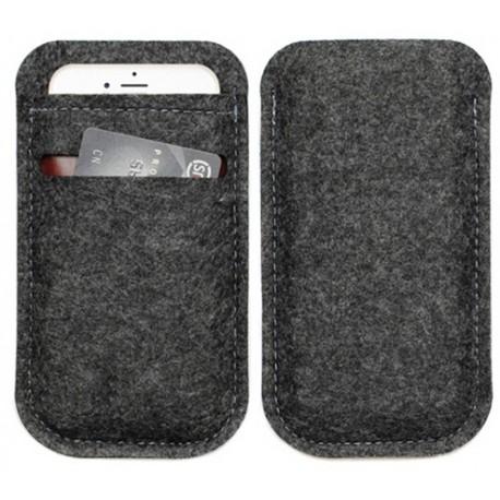 Zwart wollen hoesje voor smartphone met pinpas vakje