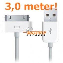 USB data sync kabel voor de iPhone en iPad (wit, superlang, 3,0 meter)
