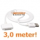 USB data sync kabel voor de iPhone en iPad (wit, superlang, 3,0 meter)
