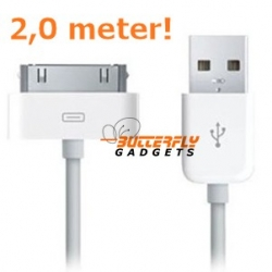 USB data sync kabel voor de iPhone (wit, extra lang, 2,0 meter)