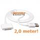 USB data sync kabel voor de iPhone (wit, extra lang, 2,0 meter)