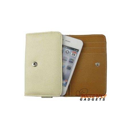 Bookcase (portemonnee) voor o.a. iPhone met drie vakjes voor pasjes - Wit