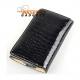 Krokodillen look bookcase voor o.a. iPhone met drie vakjes voor pasjes - Zwart