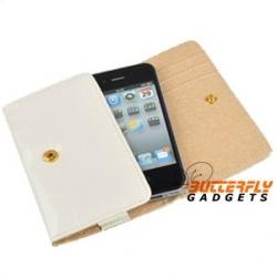 Krokodillen look bookcase voor o.a. iPhone met drie vakjes voor pasjes - Wit