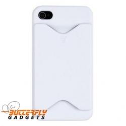 Hoge kwaliteit kunststof back cover met pinpashouder voor iPhone 4, 4s - Wit