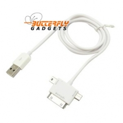 3 in 1 Micro Mini USB kabel, voor o.a. iPhone, HTC, Blackberry, Samsung, iPod