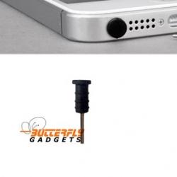 Stofkapje voor de hoofdtelefoon aansluiting voor de iPhone 3, 4, 5 en iPad - Zwart