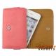 Bookcase (portemonnee) voor o.a. iPhone met drie vakjes voor pasjes - Roze