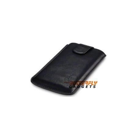 Hoesje met pull up strap en klitteband sluiting voor de Samsung Galaxy S3 i9300 - zwart