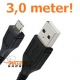 USB data sync kabel voor Samsung Galaxy, HTC, Nokia (zwart, superlang, 3,0 meter)