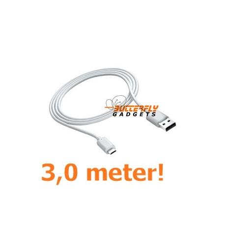 USB data sync kabel voor Samsung Galaxy, HTC, Nokia (superlang, 3,0 meter)