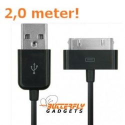 USB data sync kabel voor de iPhone en iPad (zwart, extra lang, 2,0 meter)