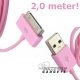 USB data sync kabel voor de iPhone en iPad (roze, extra lang, 2,0 meter)